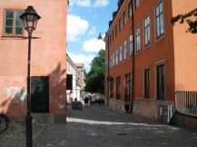 Bunte Häuser in der Innenstadt von Uppsala